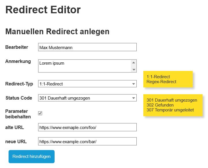 Redirect-Editors Komponenten