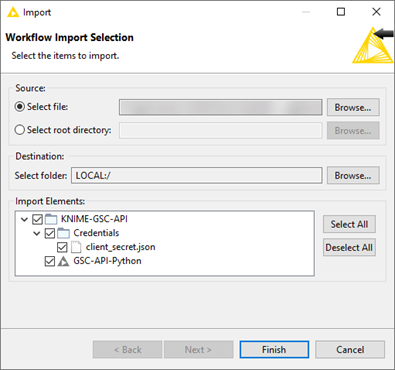KNIME import Workflow